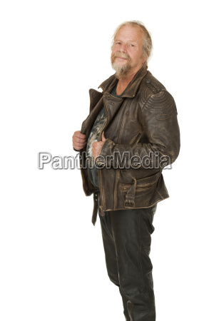 elderly man in leather jacket on