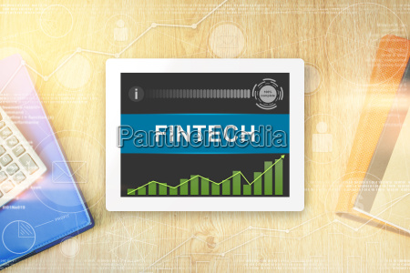 fintech or financial technology word on
