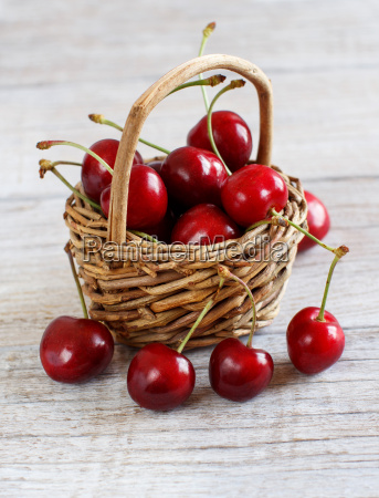 red cherries in a basket