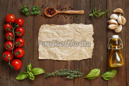 craft papier mit rand von gemuese