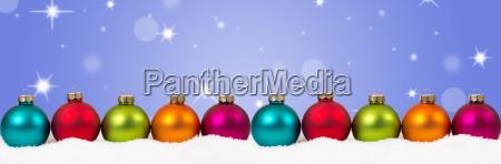 weihnachten bunte weihnachtskugeln banner dekoration sterne