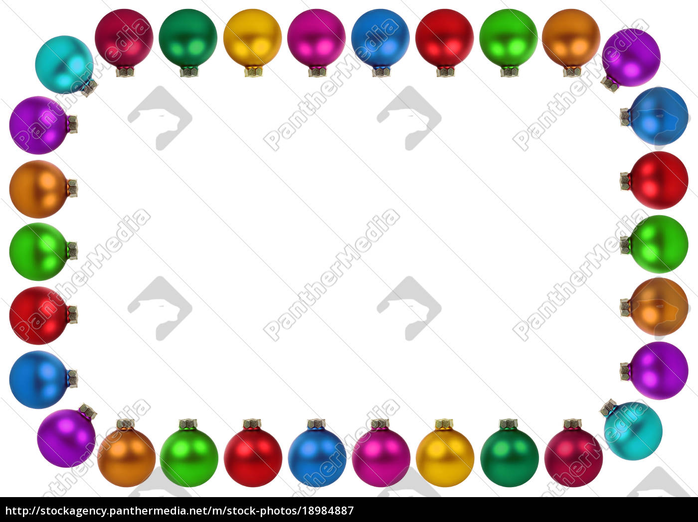 Weihnachtskugeln Weihnachten bunte Dekoration Rahmen - Lizenzfreies ...