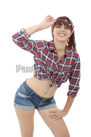 young woman in checkered shirt and