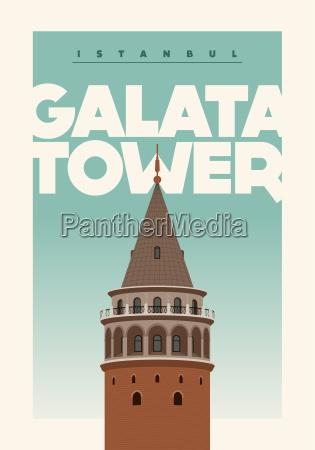titel galataturm galataturm beschreibung vektor plakatentwurf