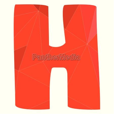 h roter alphabet vektorbuchstaben auf weissem