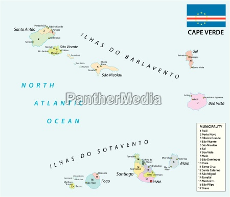 cape verde administrative and political map