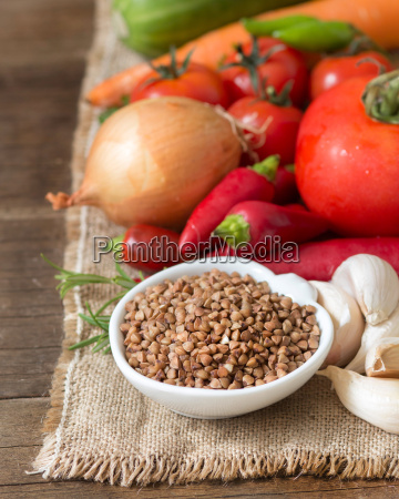 raw organic buckwheat and vegetables