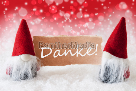 red christmassy gnomes with card danke