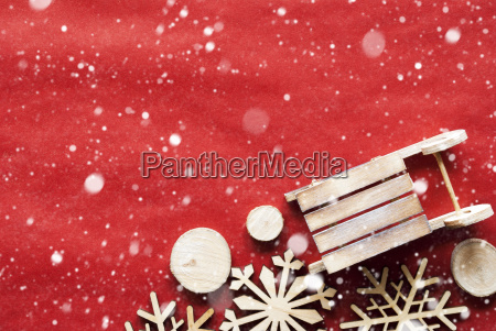 christmas decoration like sled on wrapping