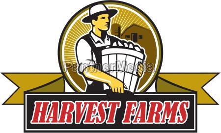 bio landwirt ernte farmen kreis retro