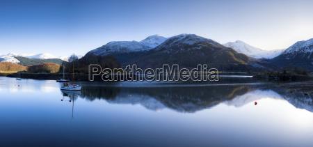 winter view of flat calm loch