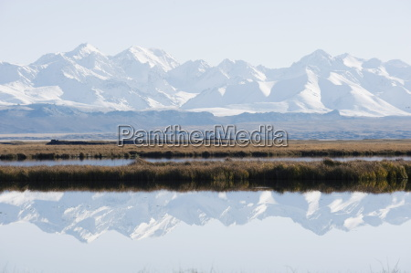 snow mountains reflected in a lake