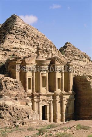 rock cut facade of the monastery