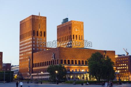 radhus city hall illuminated at night