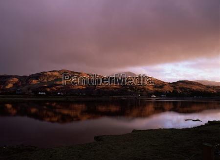 dusk over glenelg village with last