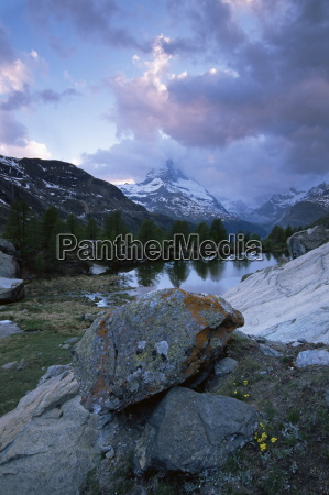 grindjisee and matterhorn at sunset zermatt