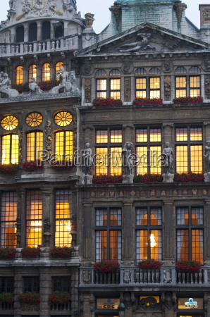 grand place building facade at dusk