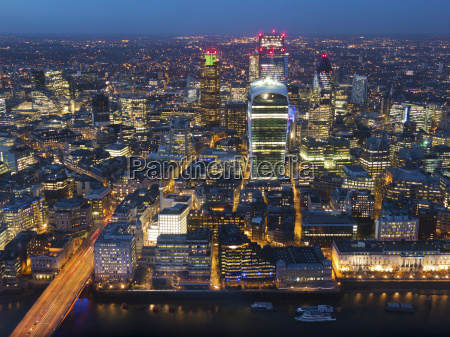 aerial london cityscape dominated by walkie