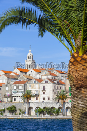 picturesque old town korcula and harbour
