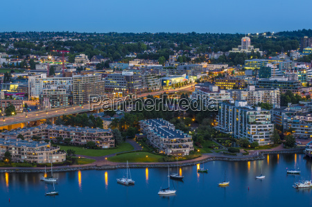 aerial view at dusk showing cambie