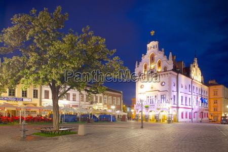 city hall at dusk market square