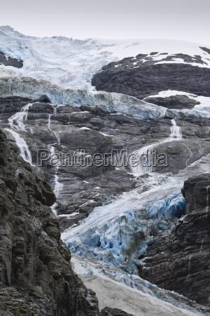 blue ice of kjenndalen glacier jostedalsbreen