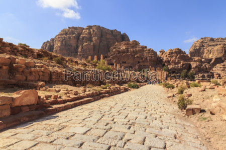 colonnaded street city of petra ruins