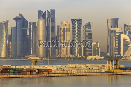futuristic doha city skyline and container
