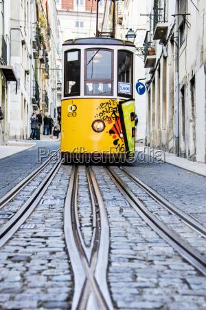die charakteristische gelbe strassenbahn faehrt in