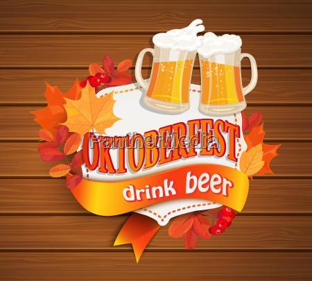 octoberfest vintage frame with beer