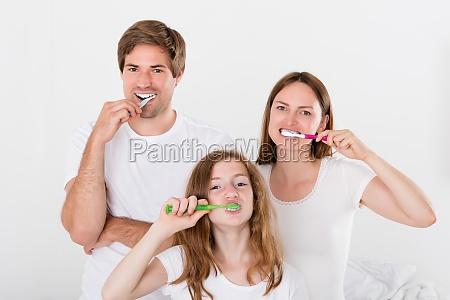 familie zaehne putzen zusammen