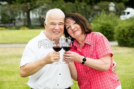 senior couple holding glass of wine