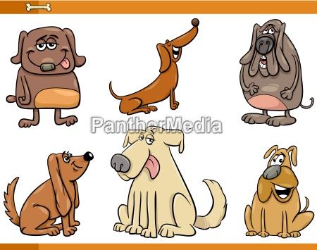 funny dog characters set