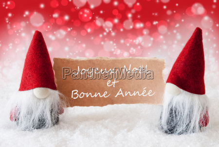 red christmassy gnomes with card bonne