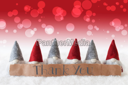 gnomes red background bokeh text thank