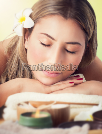 woman relaxing in the spa salon