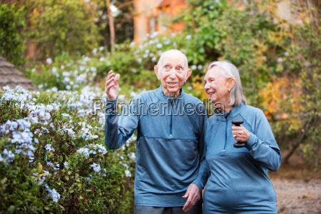 loving couple talking together outside
