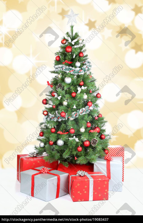 Dekoration Weihnachtsbaum.Lizenzfreies Bild 19083437 Weihnachtsbaum Weihnachten Banner Dekoration Schnee Gold