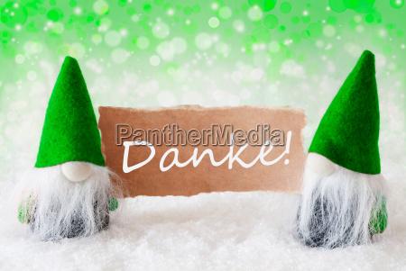 green natural gnomes with card danke