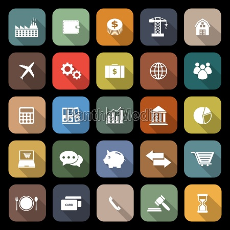 economy flat icons with long shadow