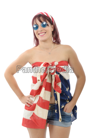 beautiful young woman dressed with american