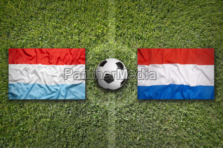 luxembourg vs netherlands flags on soccer