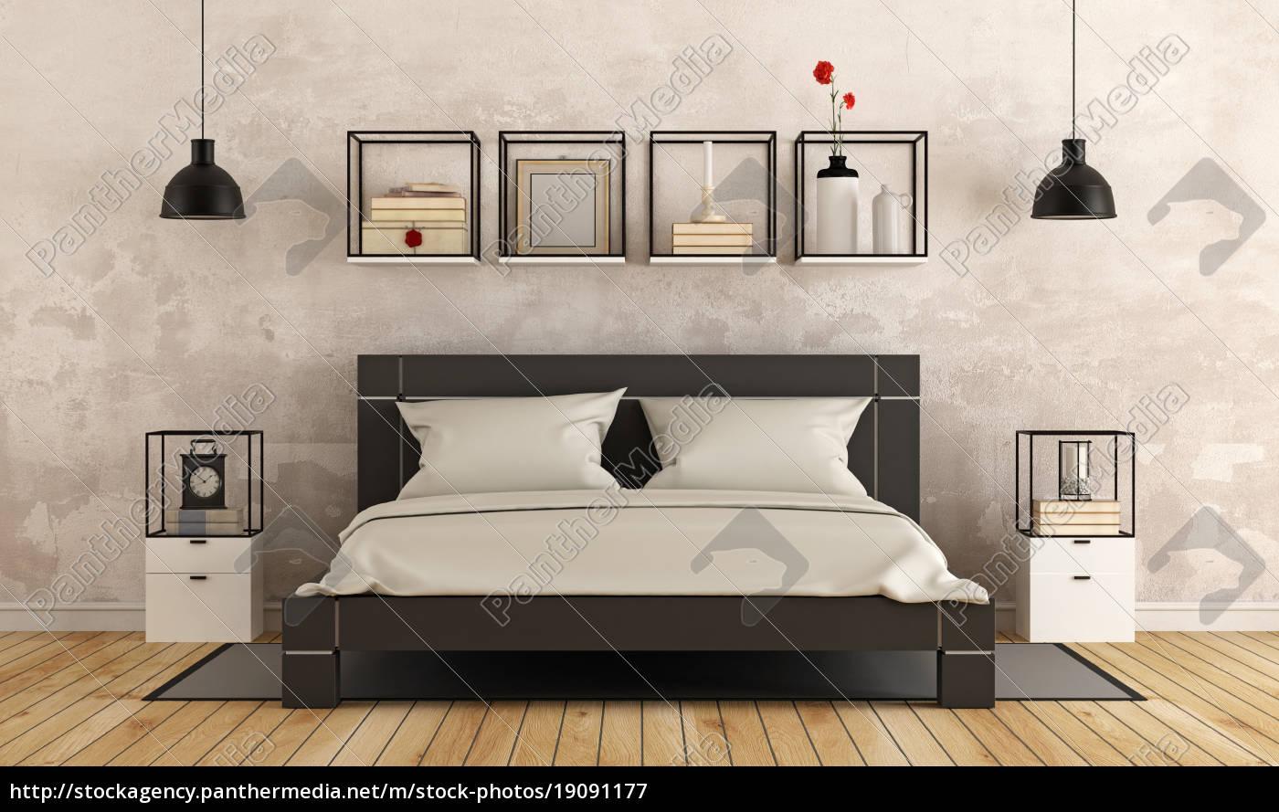 modernes schlafzimmer mit alten mauer - Lizenzfreies Bild ...