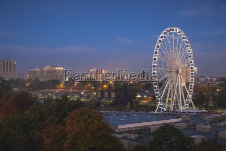 view of ferris wheel at dawn