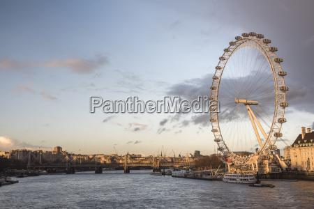 the london eye at sunset millennium