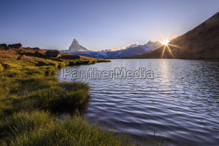 sunset at lake stellisee with the