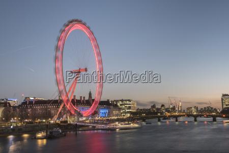 the london eye at night seen