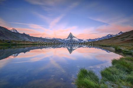 the matterhorn reflected in lake stellisee