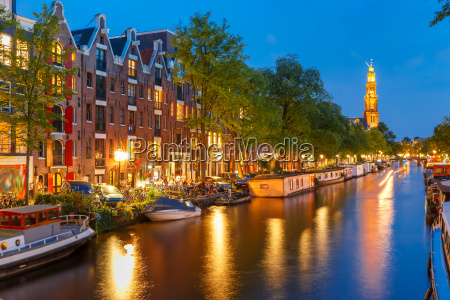 nacht amsterdam kanal und kirche westerkerk