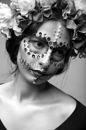 halloween fashion model with rhinestones and